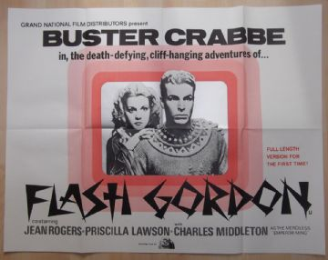 Flash Gordon, Orig UK Quad Poster, Buster Crabbe as the hero! Jean Rogers. r70s